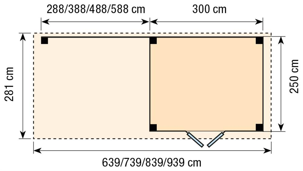 Topvision Blokhut Bonte Specht met luifel 5m