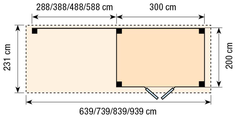 Topvision Blokhut Koekoek met luifel 4m