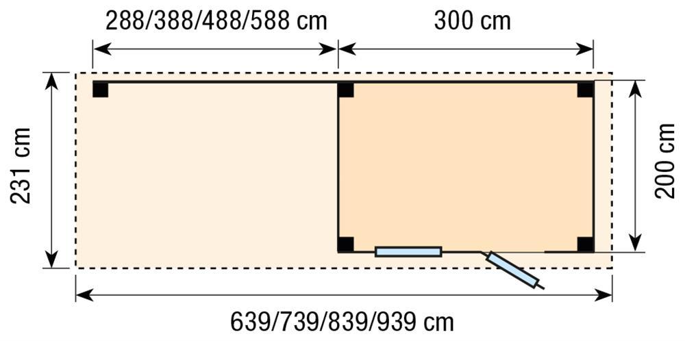Topvision Blokhut Korhoen met luifel 5m