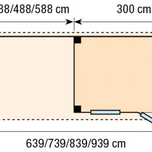 Topvision Blokhut Korhoen met luifel 6m