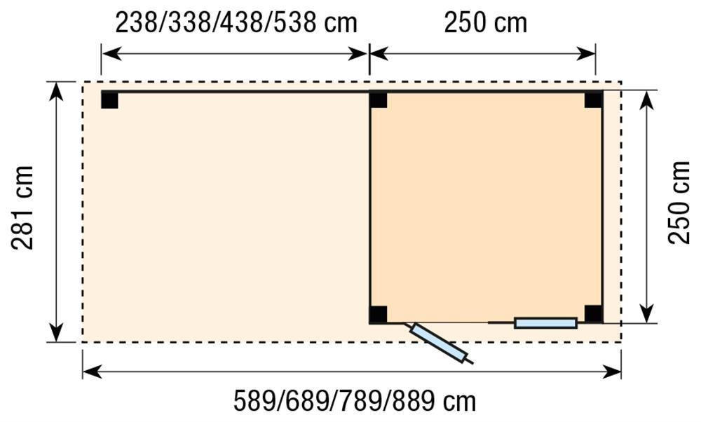 Topvision Blokhut Kuifmees met luifel 4m