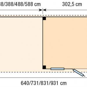 Topvision Blokhut Tapuit met luifel 3m