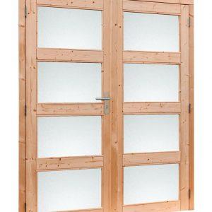 Douglas dubbele glasdeur 4-ruits met melkglas