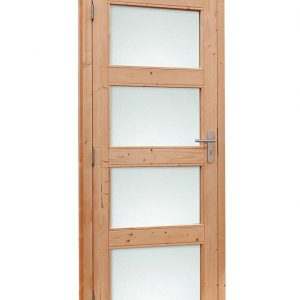 Douglas enkele glasdeur 4-ruits met melkglas.