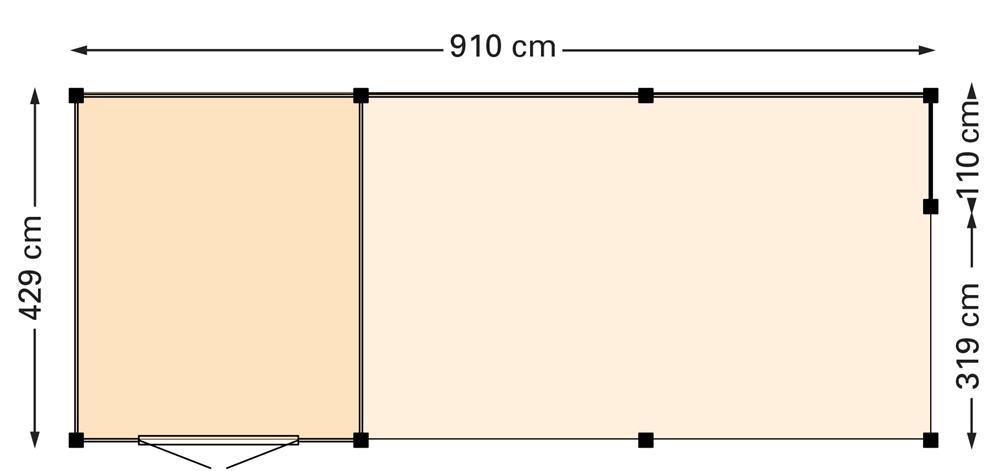Douglasvision Wolfskap Kapschuur 910 x 429 cm