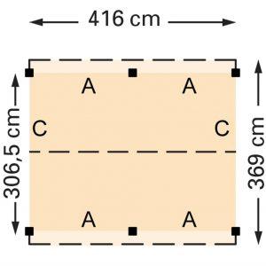 Douglasvision zadeldak 416 x 369 cm