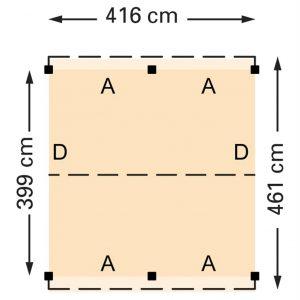 Douglasvision zadeldak 416 x 461 cm