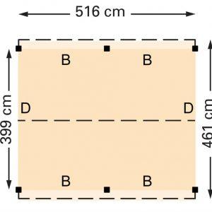 Douglasvision zadeldak 516 x 461 cm