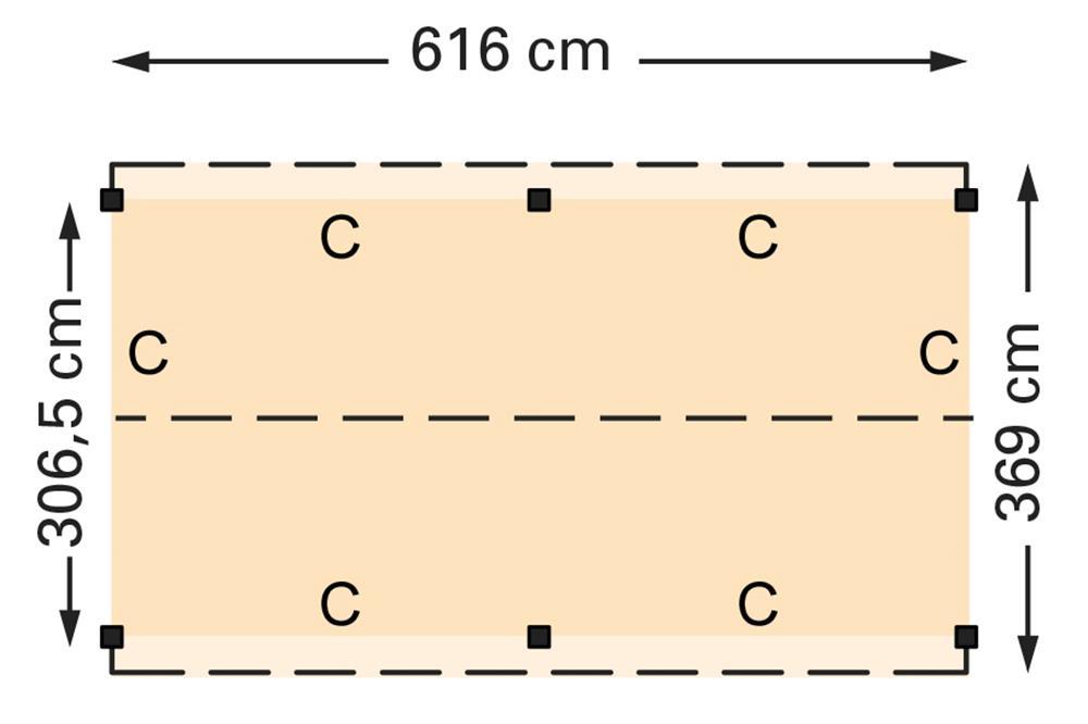Douglasvision zadeldak 616 x 369 cm