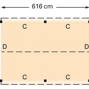 Douglasvision zadeldak 616 x 461 cm