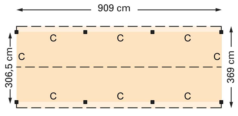 Douglasvision zadeldak 909 x 369 cm