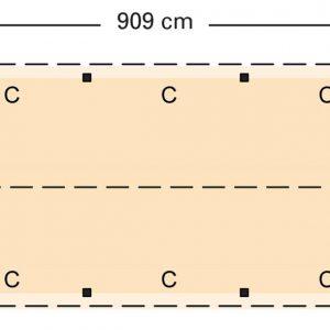 Douglasvision zadeldak 909 x 461 cm