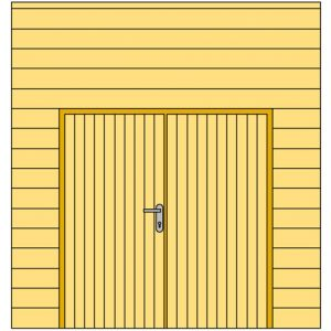 Voorwand G met blokhutprofiel en dubbele deur 278