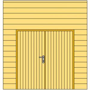 Voorwand H met blokhutprofiel en dubbele deur 328