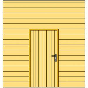 Voorwand H met blokhutprofiel en enkele deur 328