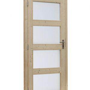 Vuren enkele glasdeur 4-ruits met melkglas