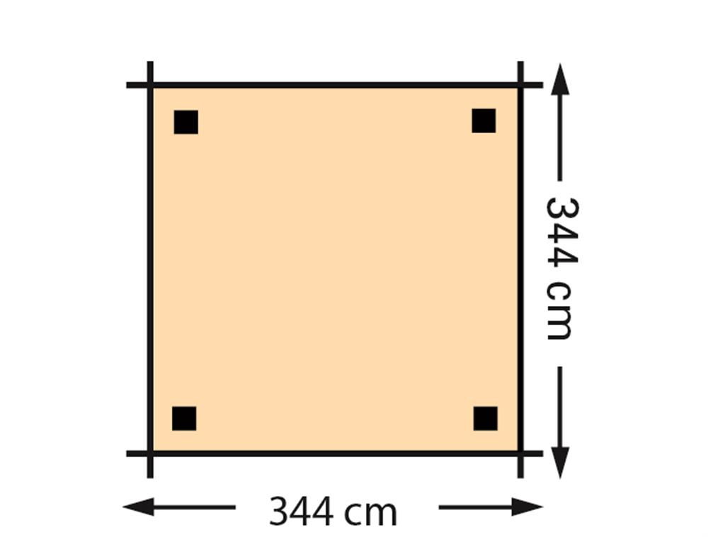 Schaduwpergola vuren houtpakket 344 x 344 cm