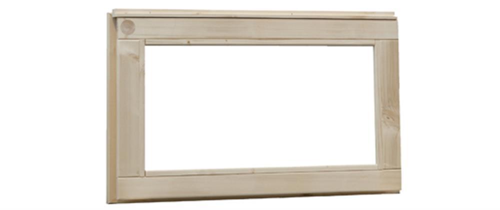 Vuren vast raam met blank glas