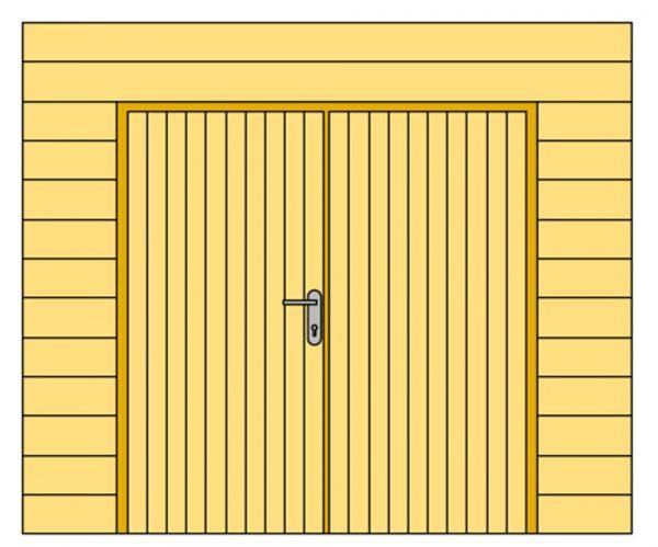 Wand B met blokhutprofiel en dubbele deur 228