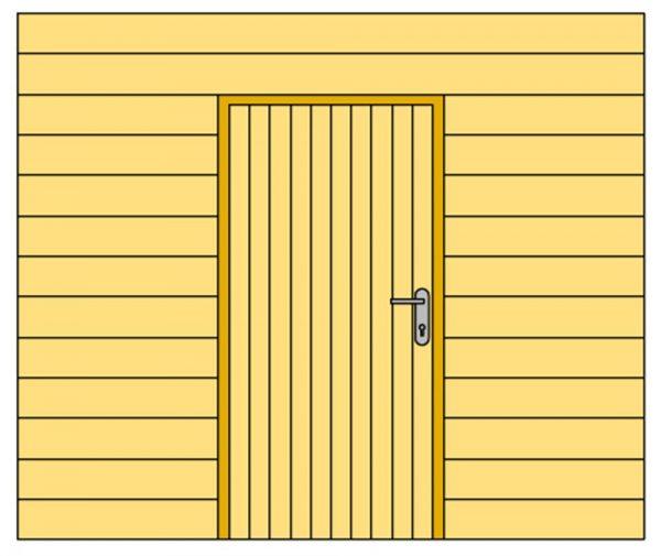 Wand B met blokhutprofiel en enkele deur 228