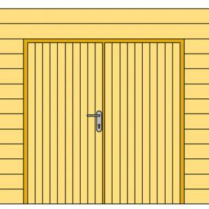 Wand D met blokhutprofiel en dubbele deur 328
