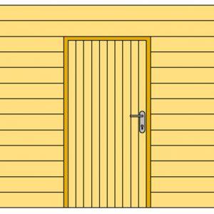 Wand D met blokhutprofiel en enkele deur 328