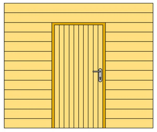 Wand E met enkelzijdig Zweeds rabat en enkele deur 371