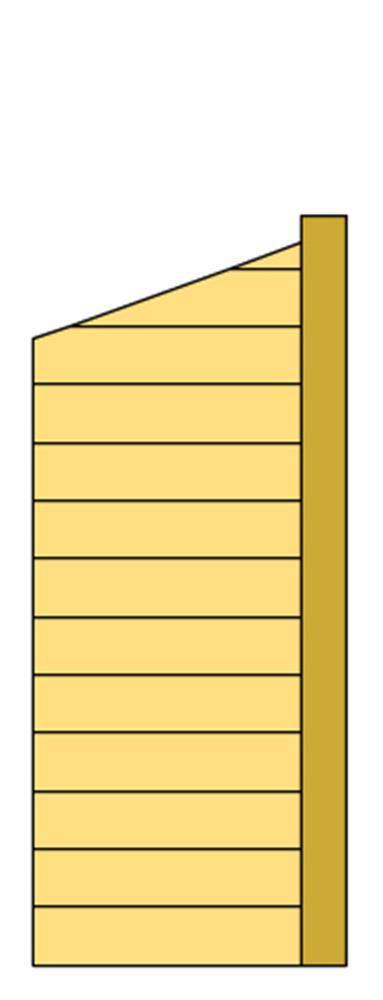Zijwand I met blokhutprofiel 83 x 194 / 229 cm