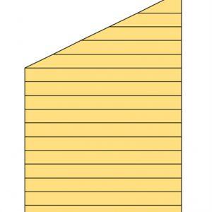 Zijwand J met enkelzijdig Zweeds rabat 205 x 194 / 298 cm